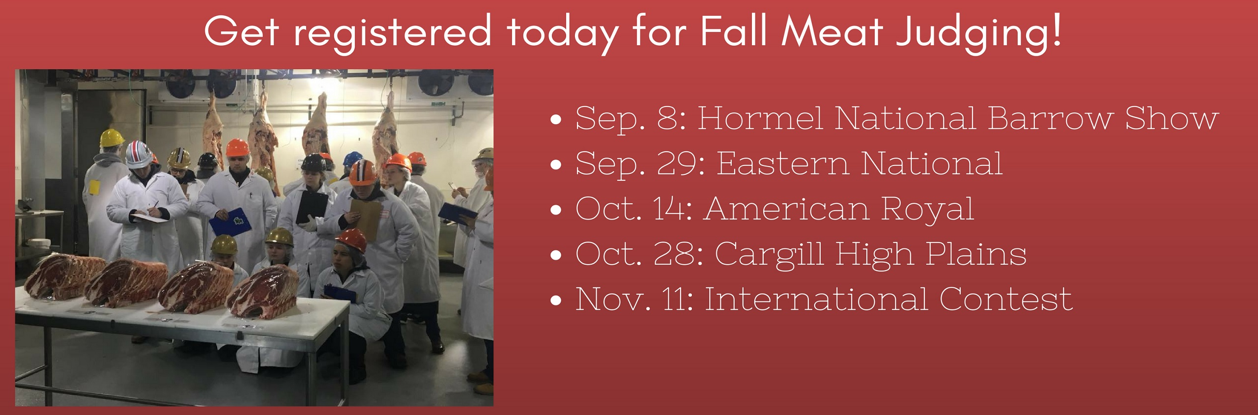 Register Today for Fall Meat Judging